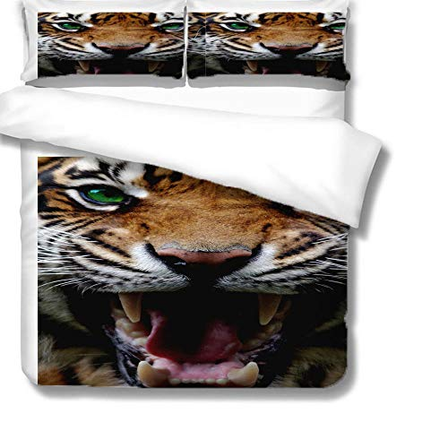HLL bedding sets with comforter 3D animal Print Roaring tiger 3 pieces Microfiber Cover Set Winter Luxury Soft for children/boys/Kids