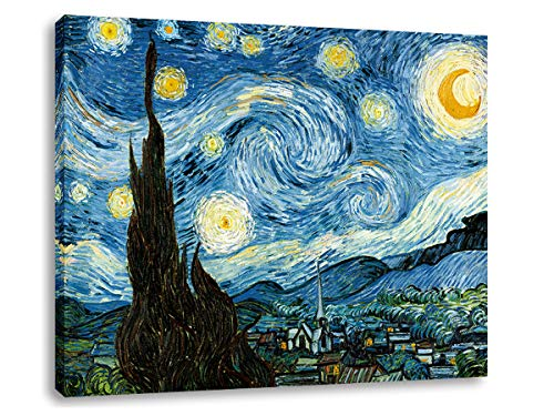 AGCary Vincent Van Gogh Starry Night Poster Wall Decor Print Paintings Canvas Modern Giclee Abstract Landscape Home Decor Wooden Framed Stretched Print on Canvas Reproduction Ready to Hang 16' x 12'