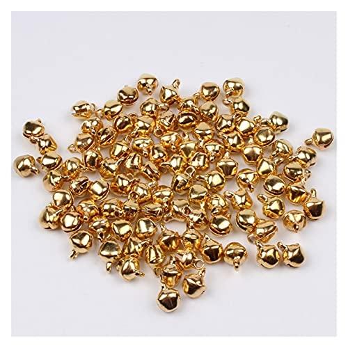 ASQZX 200 unidades por lote de 6 mm mini oro plateado multicolor campanas de Navidad Jingle Bells cuentas sueltas hechas a mano para manualidades (Campana de Navidad: 6 mm, color: oro)
