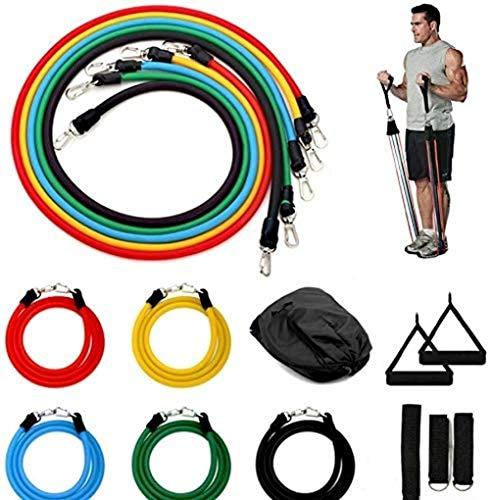 AMWFF - Juego de bandas de resistencia a la cuerda de tracción de 11 piezas, kit para entrenamiento de musculación con asas para yoga, fitness, entrenamiento