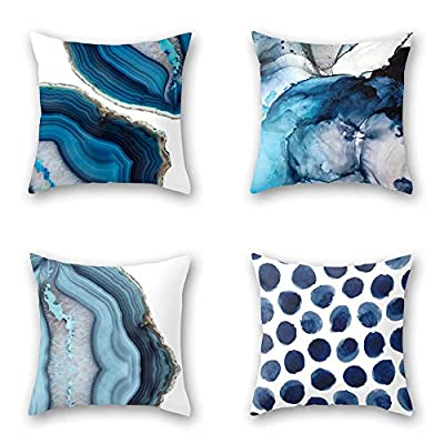 OATHENE Set of 4 Decorative Throw Pillow Covers,Navy Blue Marble Dots Sea Texture Cotton Linen Cushion Sofa Bedroom Car,Home Decor,18 x 18 Inch.1367