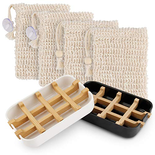 AODOOR Sustainable Soap Dish, Soap Dishes, Set of 2, Environmentally Friendly Natural Bamboo Wood with Bamboo Fibre Drip Tray, White & Black Soap Box + 4 Soap Bags