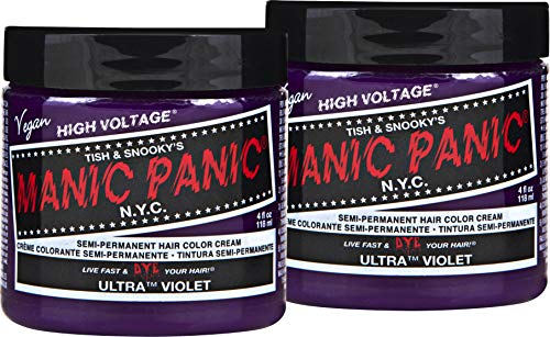 Manic Panic Ultra Violet Hair Dye – Classic High Voltage - (2PK) Semi Permanent Hair Color - Cool, Blue Toned Violet Shade - Vegan, PPD & Ammonia-Free - For Coloring Hair on Women & Men