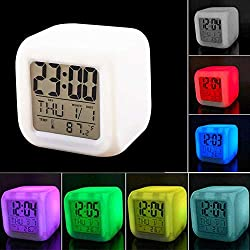 Large Face Digital Alarm Clock Thermometer Night Glowing LED Cube Night Light Clocks, Kids Light Up Clock Changing Colour, Electric Alarm Clock Calendar Wake Up Bedside Bedroom Clock for Adults.
