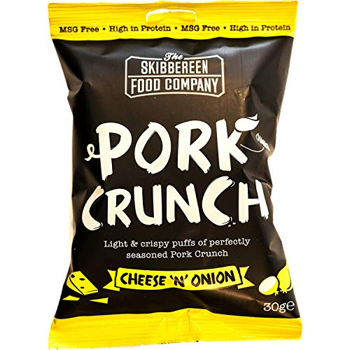 Skibbereen Cheese'n'Onion Flavoured Pork Crunch Pub Snack - Deliciously Seasoned Crispy Pork Puffs - Guilt Free Low Carb & High Protein Snack - Keto Friendly - No Added Oil, No MSG - 10x30g