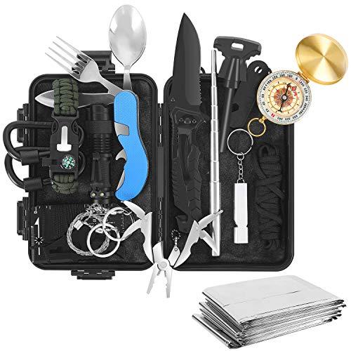 Tolaccea Survival Gear 17 in 1 Camping Survival Kits Professionelle Taktische Ausrüstung Notfall-Überlebenswerkzeuge mit Messerkompassdecke für Abenteuer im Freien