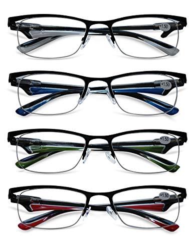 KOOSUFA Lesebrille Herren Damen Metallrahmen Halbrahmen Brille Klassische Halbrandbrille Lesehilfe Sehhilfe Federscharnier Blau Grün Rot Weiß 1.0 1.5 2.0 2.5 3.0 3.5 4.0 (4 Farben Set, 1.5)
