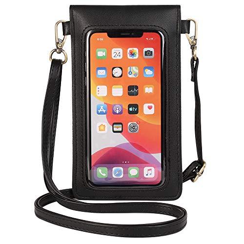 PU-Leder-Handy-Tasche mit klarem Fenster und Mini-Schultertasche, Brieftaschen-Halter für Samsung Galaxy S20 Plus, S20/Motorola Moto G Stylus Power G8 Plus Z4 Z3 Play/OnePlus 7T 7 Pro