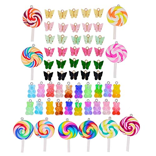 60 unidades de colgantes con forma de piruleta, osito dulce, para manualidades, fabricación de joyas, pendientes, pulseras, collares, manualidades