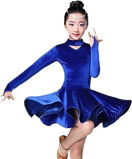 子供ベルベットラテンボールルームパーティーダンス Dresss ハイト襟サンバタンゴレオタードダンスパフォーマンス衣装女の子2-15 年