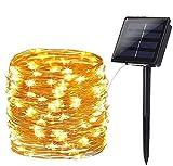 Guirnalda Luces Exterior Solar, BrizLabs 24m 240 LED Cadena de Luces Impermeable 8 Modos Luces Led Solares Exteriores Jardin Iluminación Decoración para Patio, Navidad, Bodas, Fiesta, Blanco Cálido