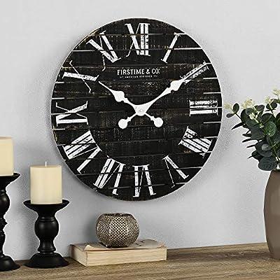 FirsTime & Co. Shiplap Farmhouse Wall Clock