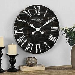 FirsTime & Co. Nightfall Shiplap Wall Clock, American Crafted, Charcoal Shiplap, 18 x 1.75 x 18, (00289)