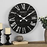 FirsTime & Co. Nightfall Shiplap Wall Clock, American Crafted, Charcoal Shiplap, 18 x 1.75 x 18,