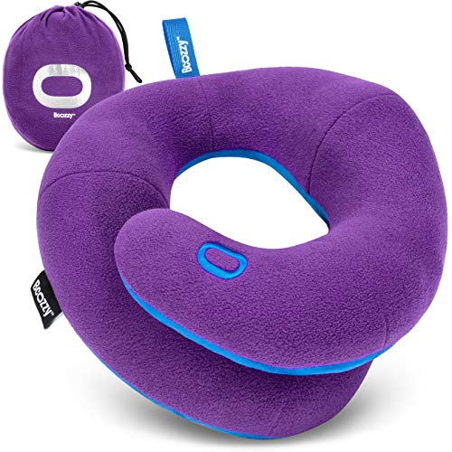BCOZZY Chin Supporting Travel Pillow- Unique Patented Design Offers 3 Ergonomic Ways to Support The Head, Neck, and Chin When Traveling and at Home. Fully Washable. Large, Purple