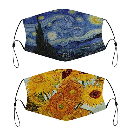 Starry Night and Sunflower Dustproof Cloth Face Balaclava Windproof Bandanas Face Gaiter with 4 Filter