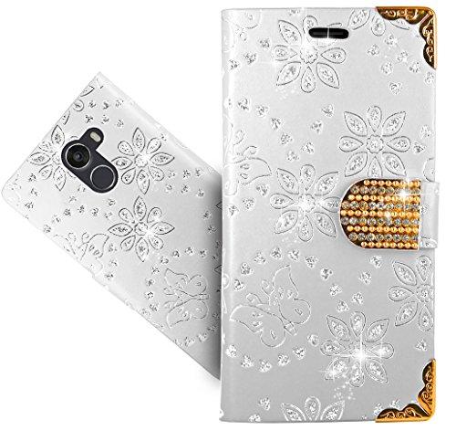 FoneExpert® Wileyfox Swift 2X Handy Tasche, Bling Diamant Wallet Case Flip Cover Hüllen Etui Hülle Ledertasche Lederhülle Schutzhülle Für Wileyfox Swift 2X