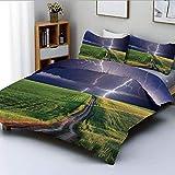 Juego de funda nórdica, tormenta de verano a punto de aparecer con flash en el campo Iluminación solar Energía decoración Decoración Juego de cama de 3 piezas con 2 fundas de almohada, verde azul, el