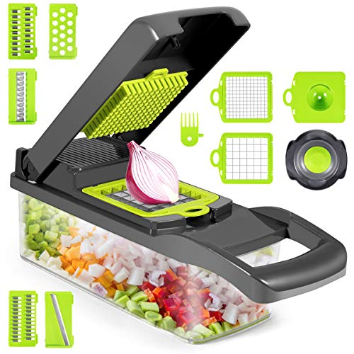 Vegetable Chopper, 12 in 1 Multifunctional Slicer with Container, Adjustable Mandolin Slicer, Household Kitchen Cutter for Veggie, Fruit Salad, Onion