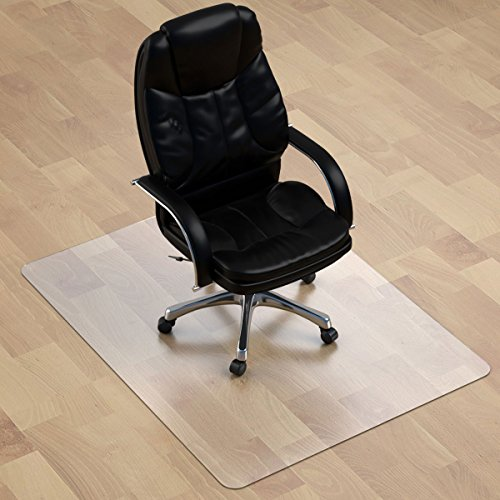 "Thickest Chair Mat for Hardwood Floor - 1/8"" Thick 47"" X 35"" Crystal Clear Chair Mat for Hard Floor, Can't be Used on Carpet Floor"