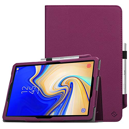 FINTIE Folio Case for Samsung Galaxy Tab S4 10.5 Inch Tablet (SM-T830/T835/T837) - [Corner Protection] Premium Stand Cover with S Pen Protective Holder Auto Sleep/Wake Feature, Purple