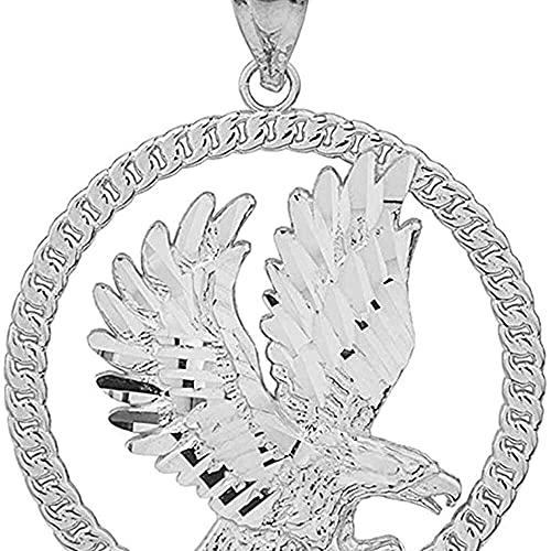 chaosong shop Colgante de plata de ley 925 con diseño de cuerda redonda de águila americana