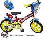 Disney Vélo 12' Racer équipé de 2 Freins, bidon & Porte bidon, Plaque Avant décorative, 2 stabilisateurs + Casque Mickey Inclus Garçon, Rouge-Jaune et Bleu