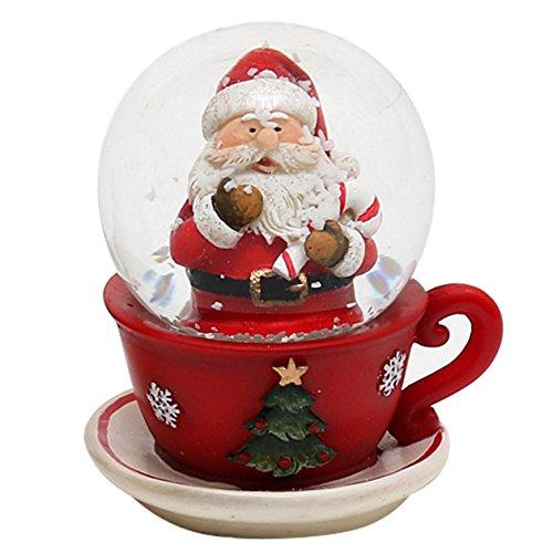 Dekohelden24 Schneekugel, Weihnachtsmann in Tasse, Maße H/B/Ø Kugel: ca. 7 x 6 cm/Ø 4,5 cm.