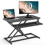 """WORLDLIFT 32"""" Convertidor de Escritorio de pie, ergonómico Altura Ajustable Sentarse Stand Up Escritorio convertidor, estación de Trabajo para Usar de pie o Sentado, Bandeja Desmontable Teclado"""
