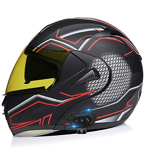 Bluetooth Casco Moto Modular Casco de Motocicleta Bluetooth integrada ECE Homologado Modular de Cara Completa abatible Casco de Moto con Doble Visera X,M