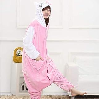 YPDM Pijama,Adultos Pijamas de Animales Ropa de Dormir Cosplay Cremallera Mujeres Hombres Invierno Unisex Stitch Pijamas de Dibujos Animados, Hello Kitty, L