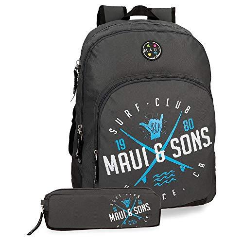 Maui & Sons Shaka Mochila doble compartimento + estuche escolar, color Gris