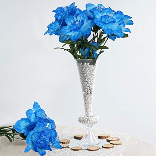 BalsaCircle 72 Turquoise Silk Daffodil Flowers - 12 Bushes - Artificial Flowers Wedding Party Centerpieces Arrangements Bouquets