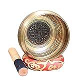 KELUNIS Set de Cuencos tibetanos para Curar Chakras, Cuencos de meditación del Himalaya martillados a Mano con Cojines y Baquetas,ML