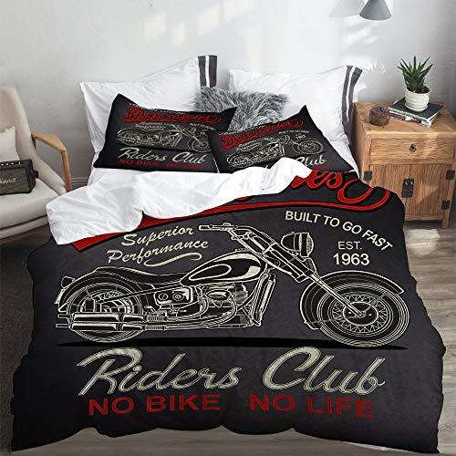 LASINSU Bedding Bettwäsche,Klassische Vintage Motorrad Antik Biker Schwarz Car Club Custom Drive,Bettwäsche 220x240cm mit Kopfkissenbezug 2(50x80cm)