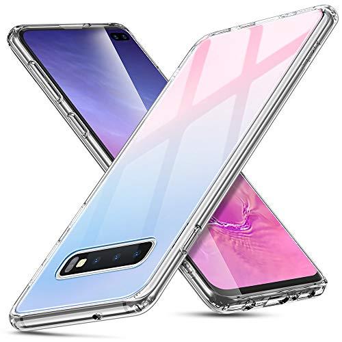 ESR Coque pour Samsung Galaxy S10 Plus Silicone, Protection Transparente avec Revêtement Arrière en Verre Trempé, Bords Couvrants en Silicone TPU Souple pour Samsung Galaxy S10+ (Rouge Bleu)