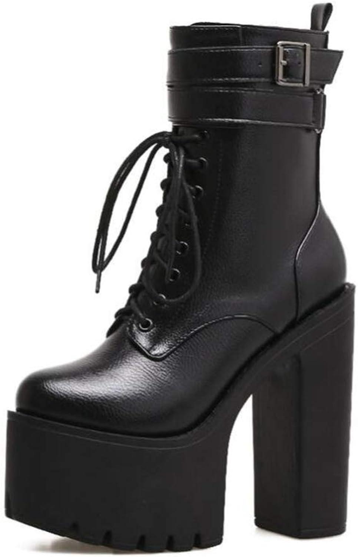 Shiney Women's Martin Boots Classic Chunky Heel Waterproof Platform Super High Heel Autumn Winter 15cm Artificial PU