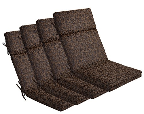 BOSSIMA Indoor/Outdoor Black/Gold Damask High Back Chair Cushion, Set of 4,Spring/Summer Seasonal Replacement Cushions.
