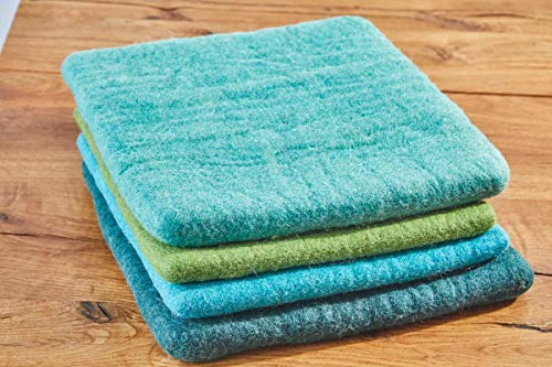 feelz - Sitzkissen aus Filz, 35x35cm, blau, grün, Filzkissen, Stuhlkissen, Wolle, Handarbeit, 2,5 cm dick - Fairtrade