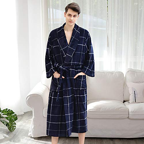 Túnica de Franela Pareja otoño e Invierno más Fertilizante para Aumentar el Pijama de Terciopelo Coralino Femenino túnica de Engrosamiento de los Hombres
