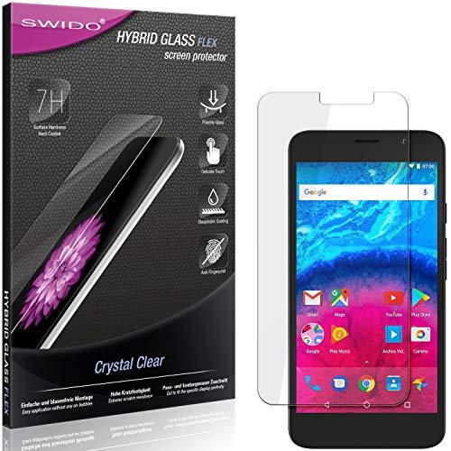 SWIDO Panzerglas Schutzfolie kompatibel mit Archos Core 55 Bildschirmschutz-Folie & Glas = biegsames HYBRIDGLAS, splitterfrei, Anti-Fingerprint KLAR - HD-Clear