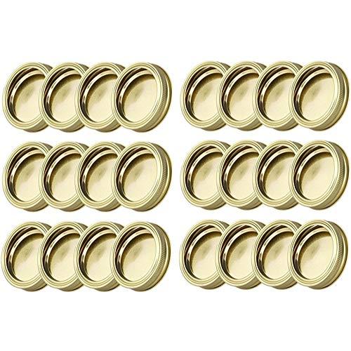 Tapa de tarro de acero inoxidable normal Mund Mason Jar, tapa de repuesto de 70 mm, compatible con Mason Jar, para especias, dulces, galletas, mermeladas (Oro, 24 unidades)