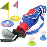 Deluxe Happy Kids/Toddler Golf Clubs Set Grow-to-Pro Golfer 15 Piece Set- by EXERCISE N PLAY (Blue)