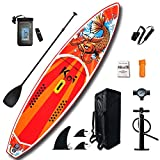 FEATH-R-LITE All Round Paddle Board 11'6'Length 33' Widt 6' Thick Isup with Adjustable Paddle,ISUP Travel Backpack,Leash (RED, 11'6')