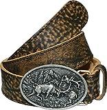 La Chasse Ledergürtel aus Rindsleder mit Schnalle kämpfende Hirsche Gürtel für Damen und Herren Trachtengürtel für Lederhosen Rindledergürtel Büffelledergürtel Lederkoppel