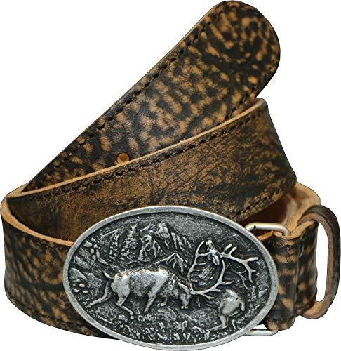 La Chasse   Ledergürtel aus Rindsleder mit Schnalle kämpfende Hirsche   Gürtel für Damen und Herren   Trachtengürtel für Lederhosen   Rindledergürtel   Büffelledergürtel   Lederkoppel (115 cm)