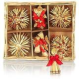 com-four® 22x Strohsterne im Mix-Set - Christbaum-Schmuck - Stroh-Anhänger für den Weihnachtsbaum - natürlicher Christbaum-Behang - Weihnachtsdekoratio (22-teilig - Set1)