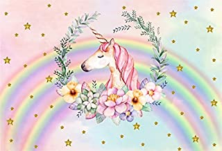 Laeacco Unicorn Backdrop 7x5FT Vinyl Photography Background Unicorn with Flowers Green Leaves Wreath Watercolor Background Golden Stars Pink Colorful Rainbow Photo Backdrops Children Birthday Party