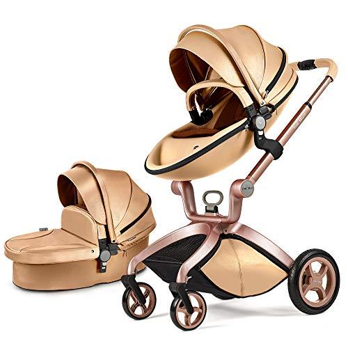 Cochecito de bebé Hot Mom 2 en 1 con Sillas de paseo, 2020 New Lifestyle F22 con 2 piezas - Gold