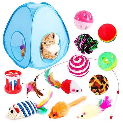 OhhGo Katzenspielzeug, 13-teiliges faltbares Katzenspielzelt, interaktives Spielfeld mit Maus-Spielzeug-Set, Maus-Bälle, Katzenspielzeug, Indoor-Set für Kitty und Katzen